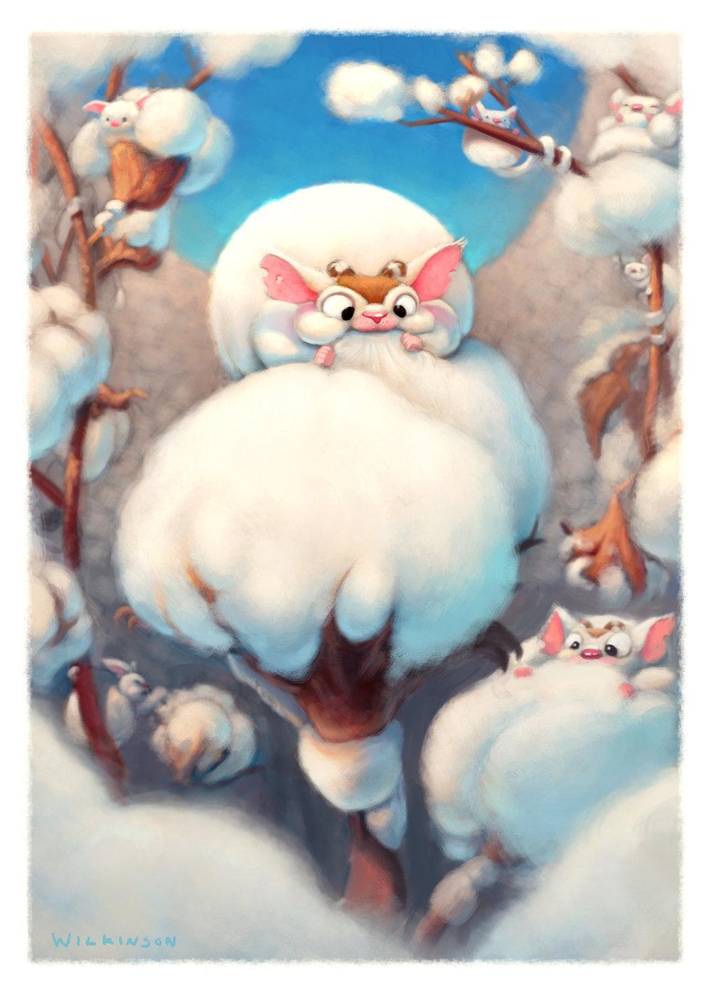 "Illustration of ""Cotton Picker"" creature"