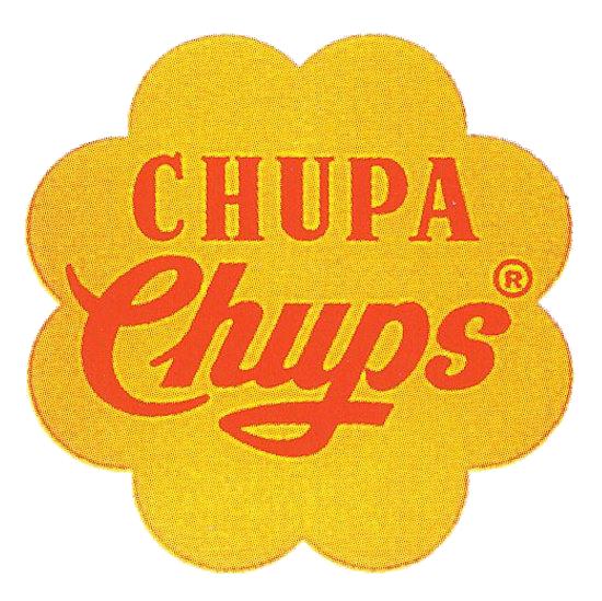 Le Logo ©CHUPACHUPS de Dali avant sa mise à jour qu'il dessina à l'age de 65 ans, il garda le jaune et le rouge de l'étiquette précédente et en fit une fleur.