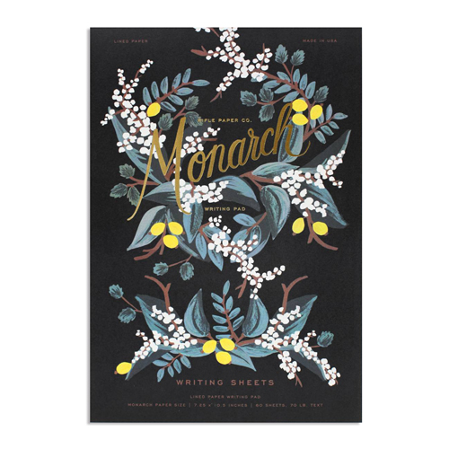 "<p><strong><a href=""https://riflepaperco.com/shop/notepads/monarch-everday-writing-pad/"" target=""_blank"">Monarch Notepad by Rifle Paper Co.</a></strong>$15.00</p>"