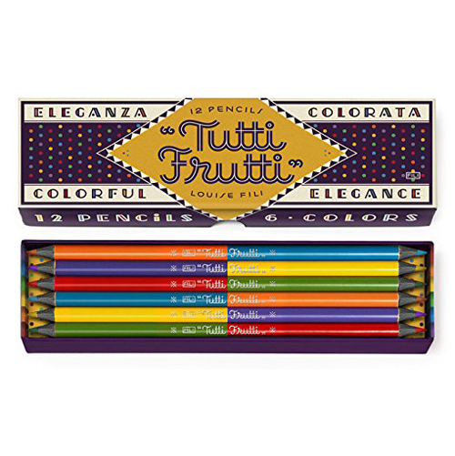 "<p><strong><a href=""http://amzn.to/1THQbQt"" target=""_blank"">Tutti Frutti Pencils by Louise Fili</a></strong>$14.95</p>"