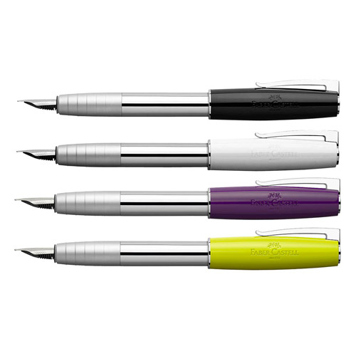 "<p><strong><a href=""http://www.fabercastell.com/design/products/loom?filter=24-24-11%20fountain%20pen&sort=asc"" target=""_blank"">Faber-Castell Loom Cartridge Fountain Pen</a></strong>$40.00</p>"