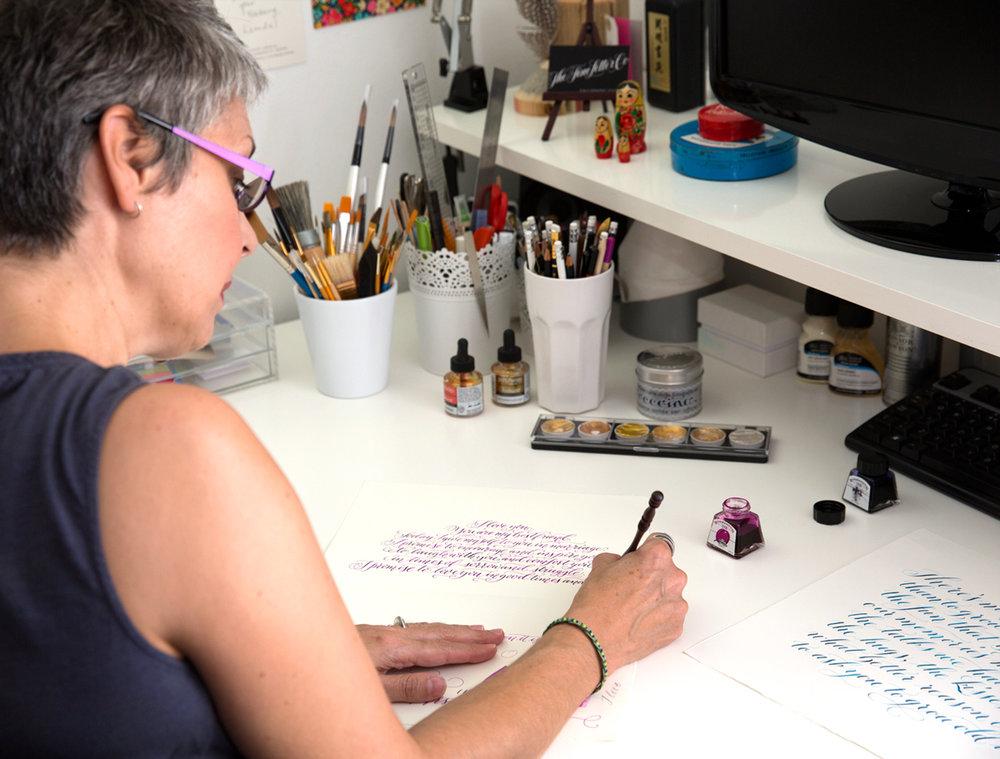 Leanda Xavian in her Calligraphy Studio