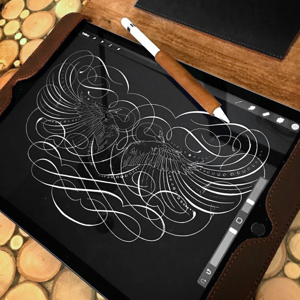 Jake's initial sketch of what will be his largest flourishing to date on the iPad Pro with the Apple Pencil. Leather case and leather pencil grip from  Saddleback Leather .