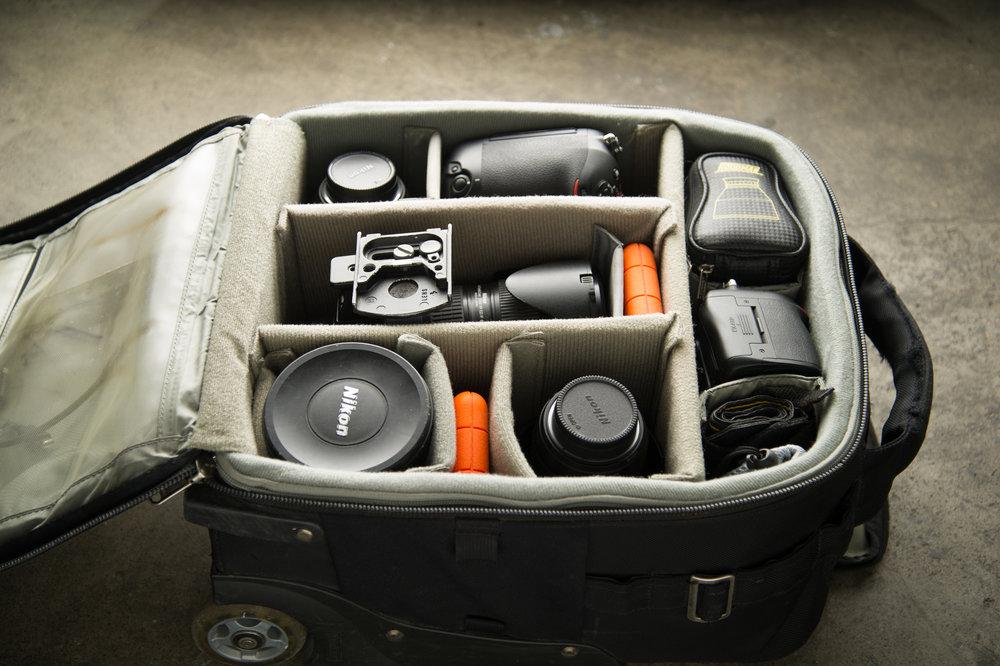 2 x Nikon Bodies,2 x LACIE 1TB SSD,14-24mm f2.8, 24-70mm f2.8, 70-200mm f2.8, 85mm f1.4,Thinktank Airport Airstream