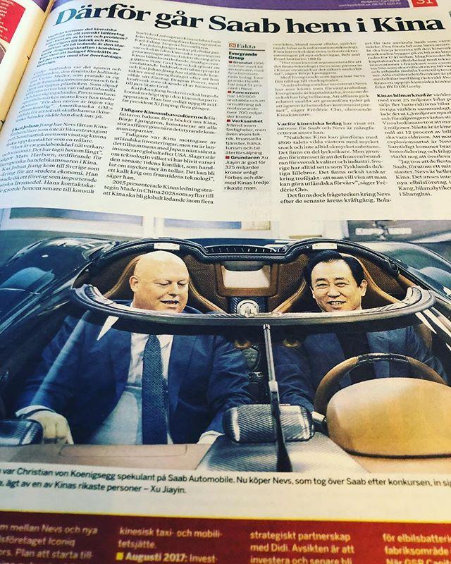 Intressant läsning i dagens DI om Nevs köp av SAAB. En av Kinas rikaste personer. Och han var hos oss i Studio Sjövillan för några veckor sen på möte. Allt fokus på hållbarhet och framtid! #hållbaramöten