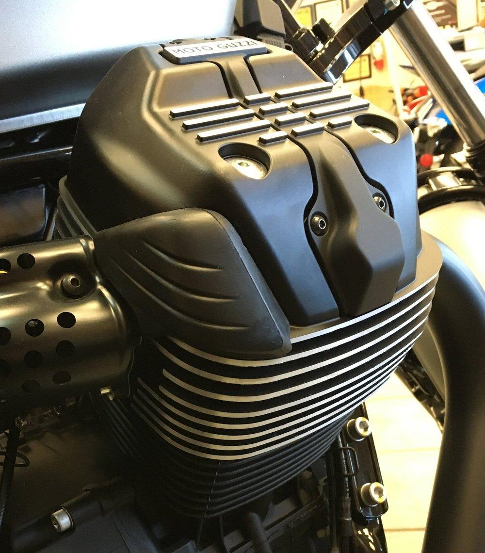 The 90-degree cylinder head pokes it's head up like a V-shaped friend.