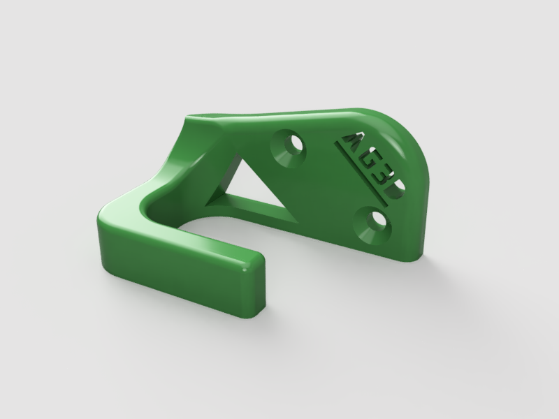 Wall Mountable Hanger'AG3D H00K' - A coat hanger for anywhere in the house! Should be able to hold even the heaviest winter jacketUse two (x2) standard size screws to mount on the wall.