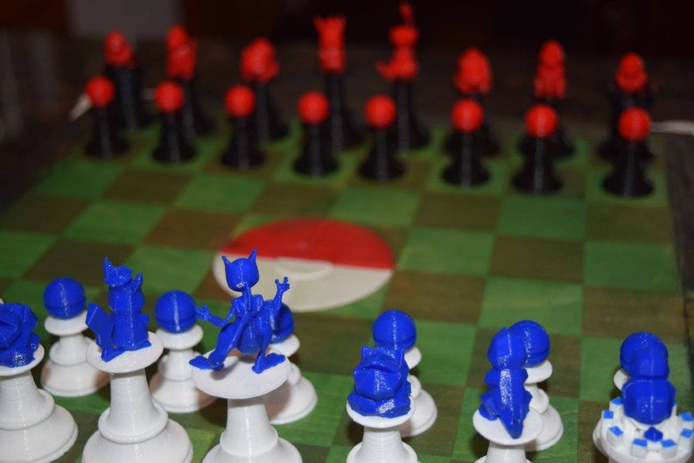 One of my favorite views of the Mulit-Color Pokemon Chess Set from the Mewtwo sides perspective. This was made using Hatchbox3D PLA and 3D printed with the Prusa i3 MK2