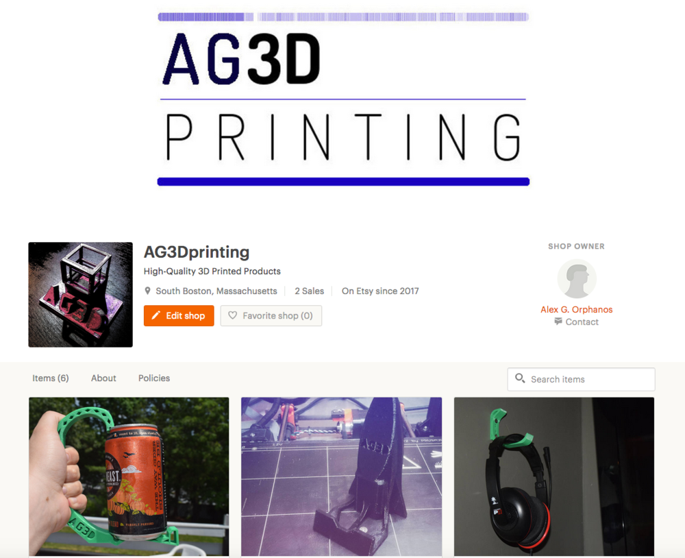 Check out our Etsy store to see the latest 3D printed products from Alex G. Orphanos, ready to 3D print ON-DEMAND. Rocketship phone stands, can holders, headphone hangers, household items, and more to come!