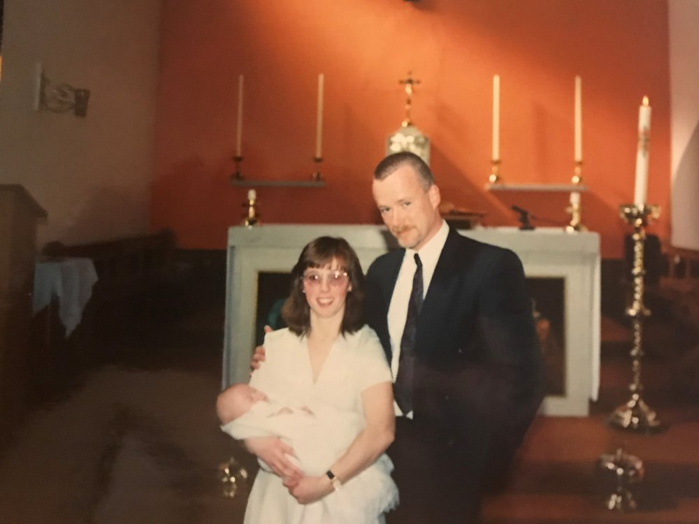 Myself and Alan at Harry's christening, 1995.