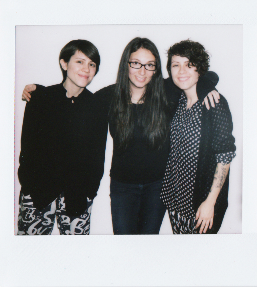 2 months pregnant (and so, so nauseous!), on set with Tegan and Sara <3