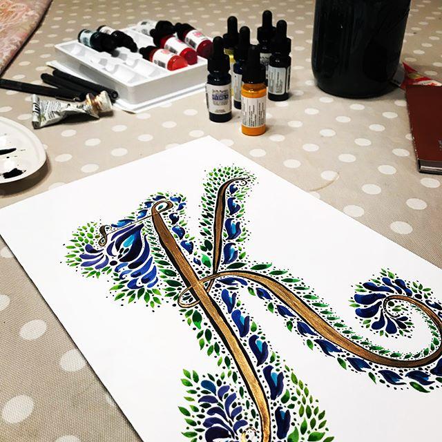 "Working on ""illuminated lettering""... just went with whatever happened. #illuminatedletters #letterk #drphmartinwatercolors #goldenpaints"