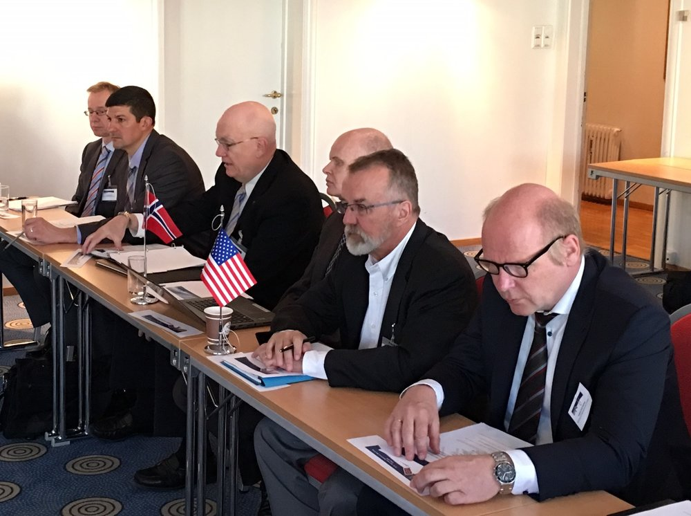 Head of delegations. From left to right: Torgeir Knutsen, MPE, Mark Ackiewicz, DOE, Richard Lynch, DOE, William Christensen, MPE, David Mohler, DOE, and Jostein Dahl Karlsen, MPE