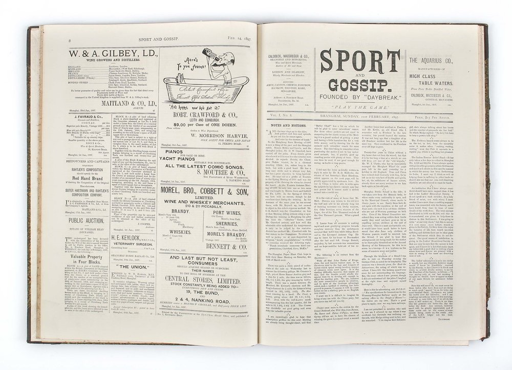 "Sport & Gossip. Founded by ""Daybreak"", Shanghai, North-China Herald Office, January 1897- June 1901"