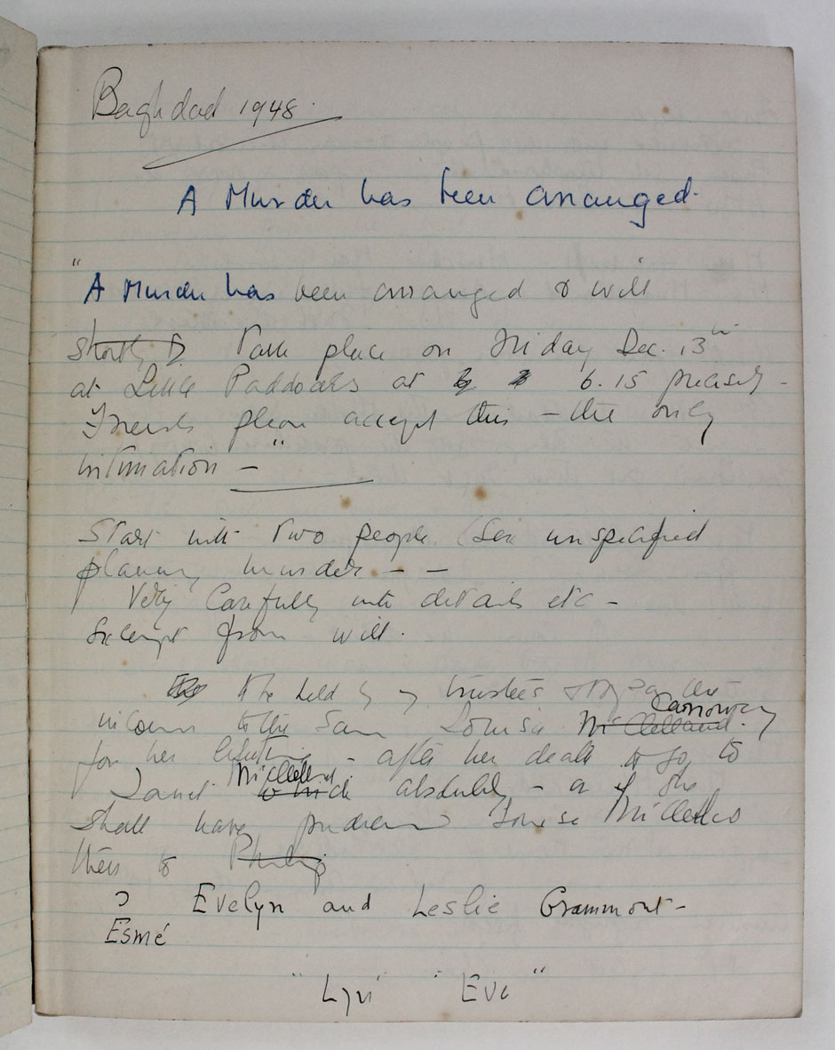 Agatha Christie.  Unpublished manuscript notebook, 1948 - 1951