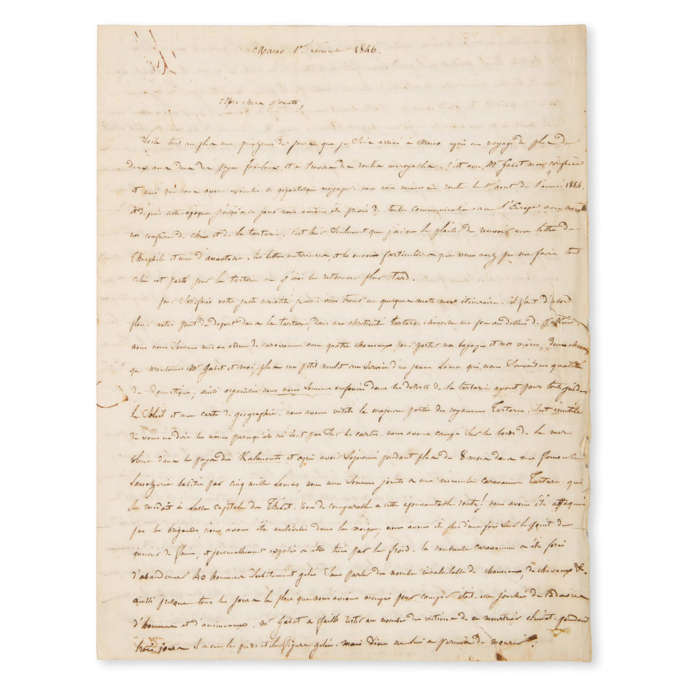 Manuscript letter written by Abbé Huc on his journey through Tartary and Tibet, 1846