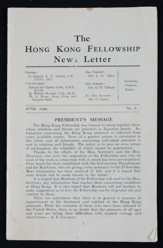The Hong Kong Fellowship News Letter, 1943