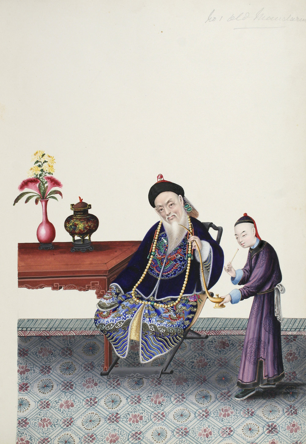 TINGQUA , (Guan Lianchang).  Album of 50 Gouache Paintings on Thick Paper of Treaty Ports, the Opium War, Costumes, Ceremonies, Genre-Paintings, Chinese gardens, and Scenes in and around Canton .