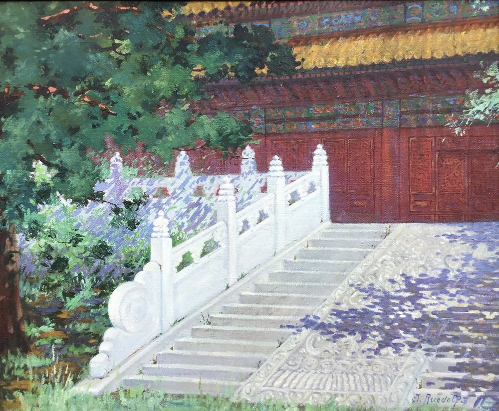PEKING - C.J. Ruedolf.   Oil on canvas, 'ENTREE du TEMPLE de CONFUCIUS a PEKIN . 1920s