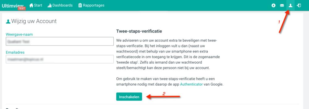 2FA in Ultimview - voor alle gebruikers die met een gebruikersnaam en wachtwoord inloggen in Ultimview