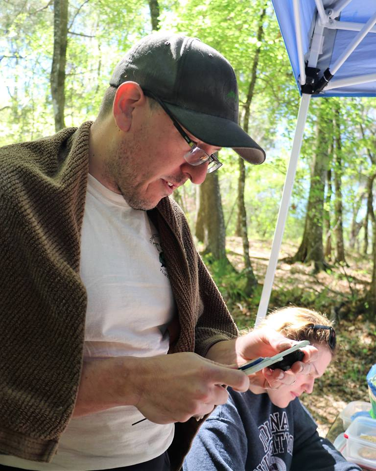 TBTY partner Eric Munscher (TSA - North American Freshwater Turtle Research Group) measuring a musk turtle (Sternotherus sp.) at Ichetucknee Springs State Park (Columbia County, Florida). Photograph by George L. Heinrich.