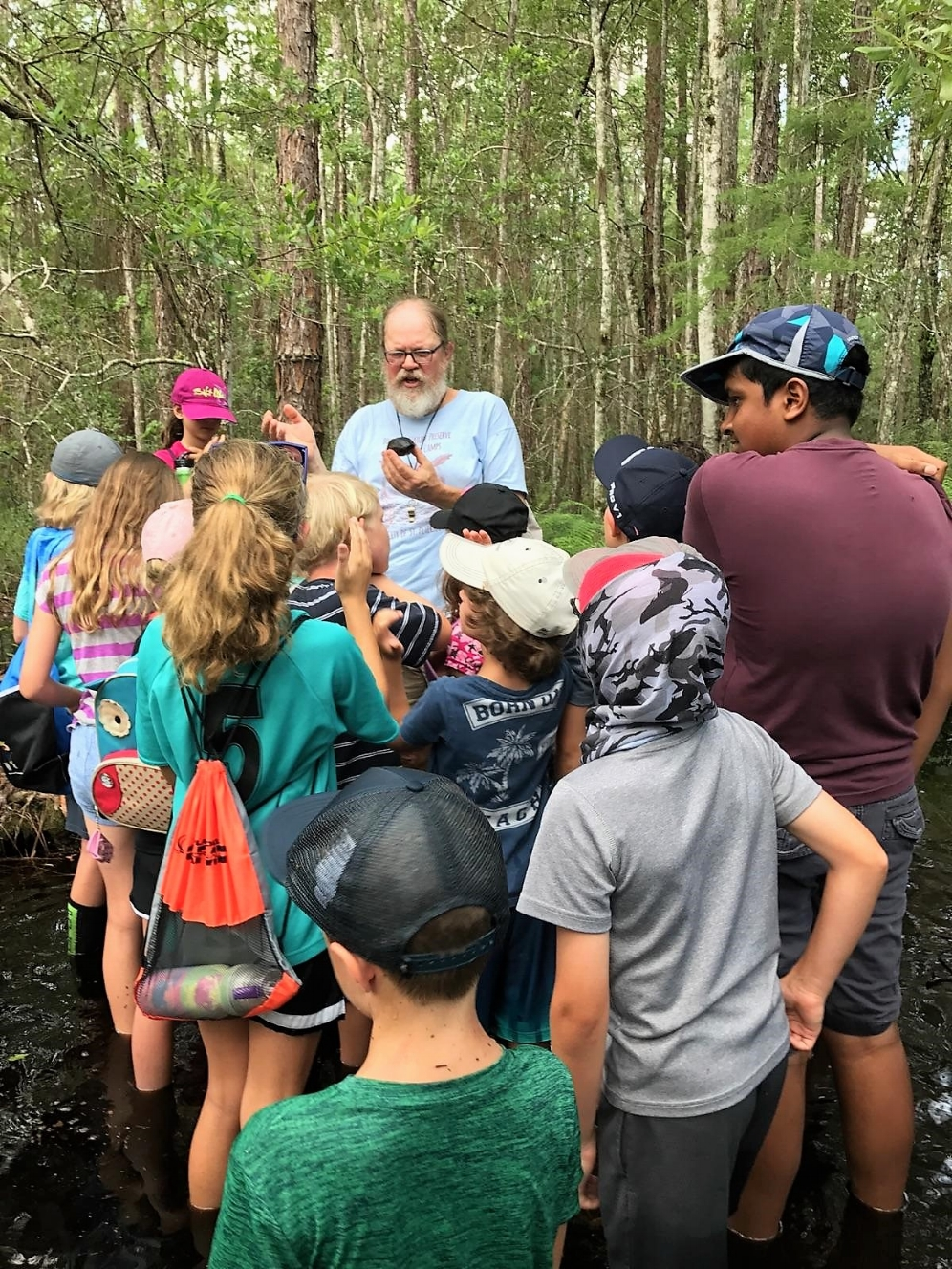 George L. Heinrich talking to campers about striped mud turtles ( Kinosternon   baurii ) at Brooker Creek Preserve (Tarpon Springs, Florida). Photograph by Andrew Farren.