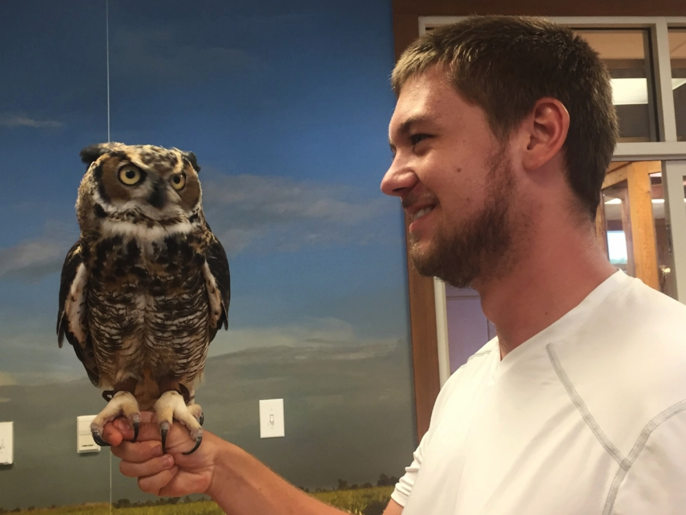 Joe Jenkins with a great horned owl (Bubo virginianus) at the Five Rivers Delta Resource Center (Baldwin County, Alabama). Photograph by Timothy J. Walsh.