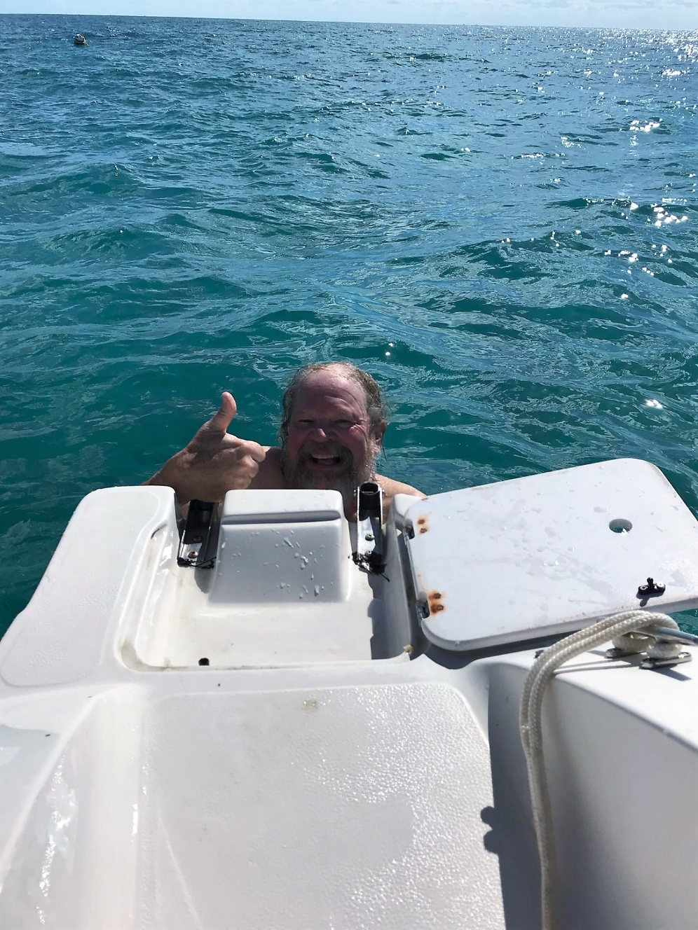 George L. Heinrich giving the thumbs up after finding a hawksbill sea turtle (Eretmochelys imbricata) in the Florida Keys. Photograph by Bob Krause.