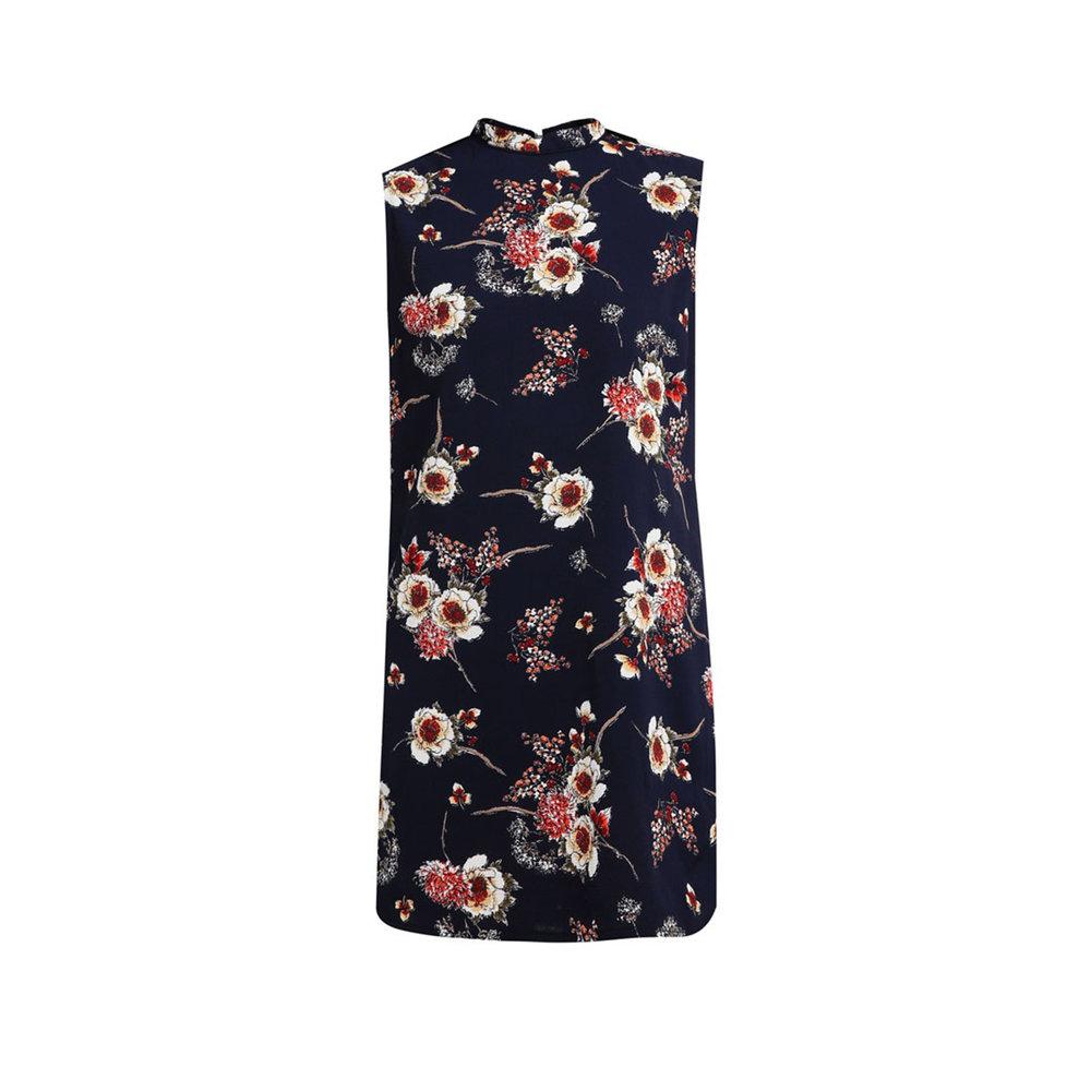 Printed Mandarin Collar Dress with Trimmings, £19, Zalora