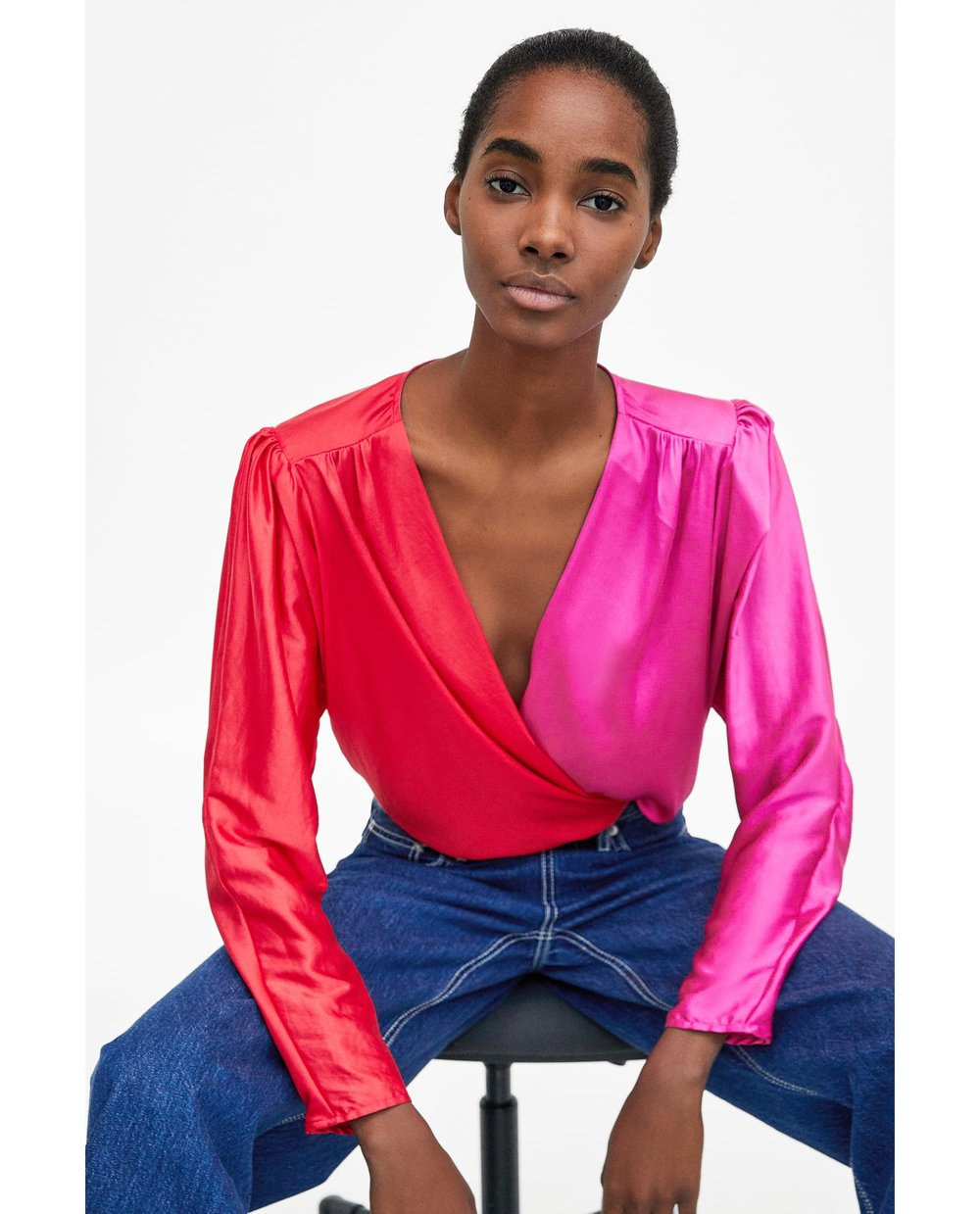 Two Tone Crossover Bodysuit - £29.99, ZaraI know that pink and red isn't for everybody, but ugly chic is basically my whole brand. This bodysuit speaks to me on a spiritual level. I had a similar navy American Apparel one back at university and this feels a lot more like the grown up girl version.I've been seeing it this clashing colour combo a lot on SS18 runways - Lanvin and Emilia Wickstead were big favourites.