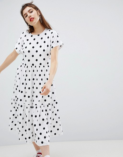 Monki Polka Dot Tiered Midi Dress - Priced at £25, available at ASOS*
