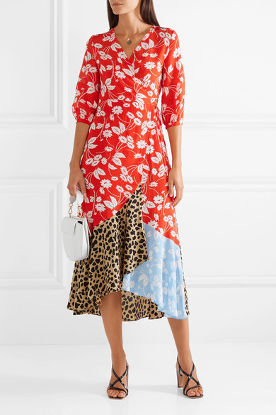 Rixo London Noleen Paneled Printed Wrap Dress - Priced at £295, available at NET-A-PORTER*