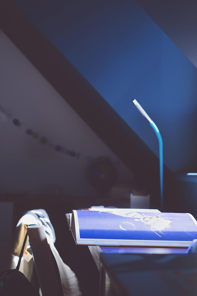 Péa les maisons. Un mur bleu foncé dans une chambre d'ado