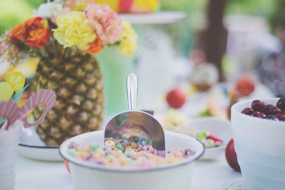 Péa les maisons. Idées sucrées pour la table à desserts d'une fête d'enfant