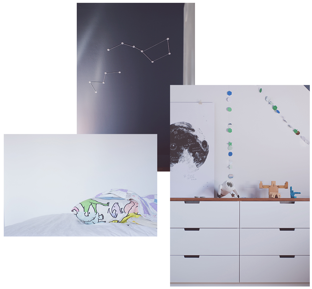 Péa les maisons. A space themed bedroom for a pre-teen boy