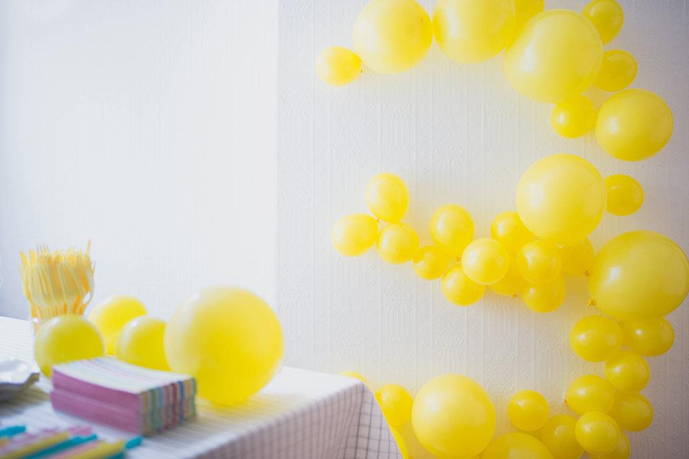 Péa les maisons. Chouette décoration de ballons