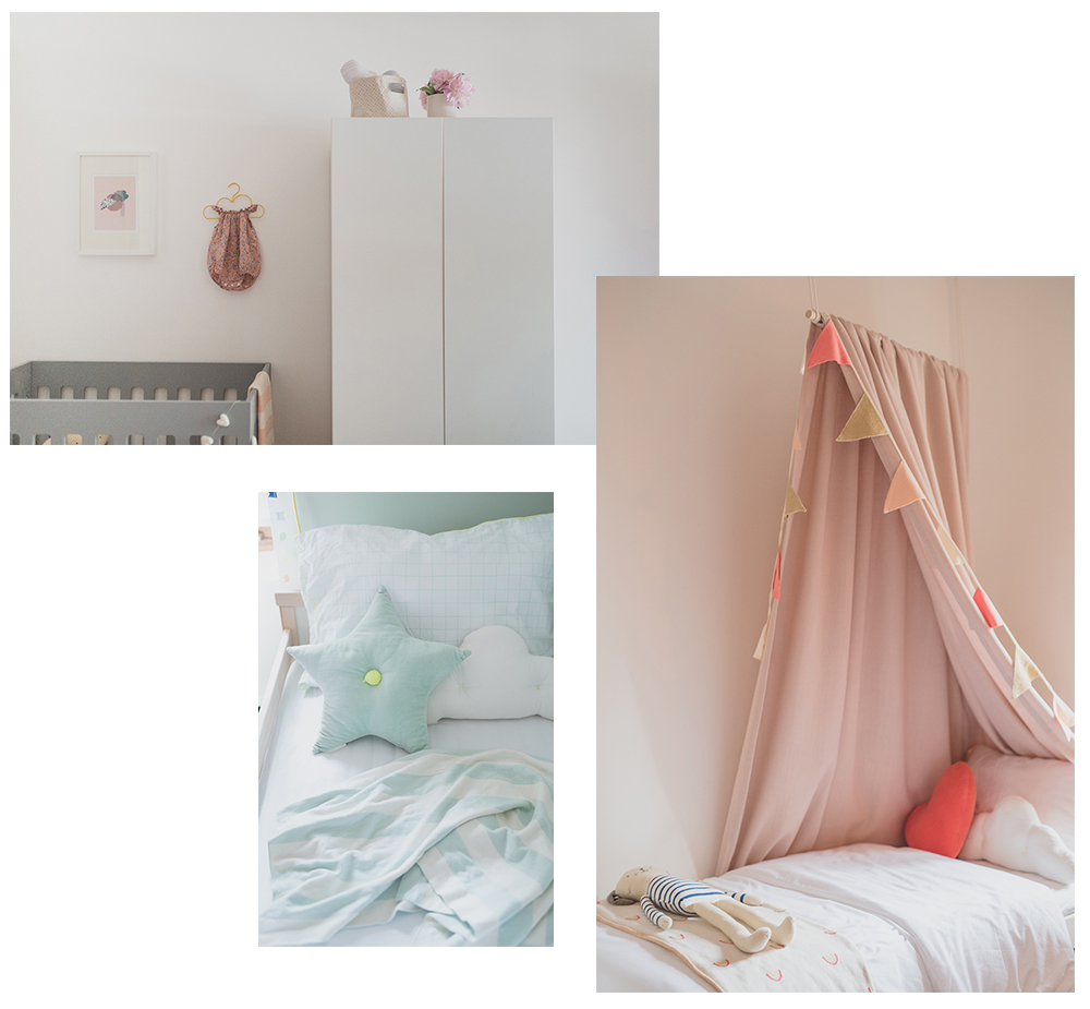 Péa les maisons. Three kids in the same small space and their room is still aesthetic, functional and practical