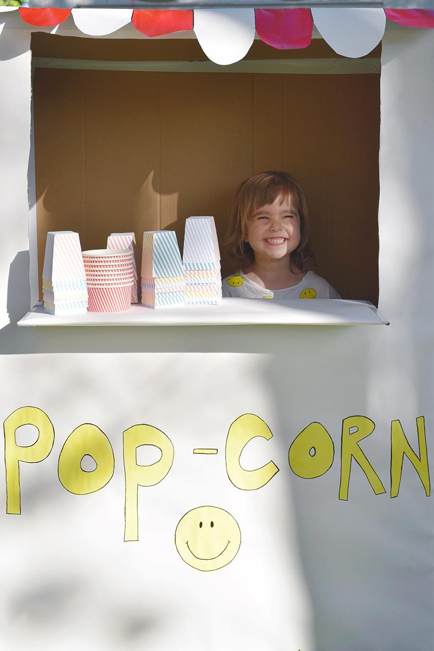 Péa les maisons. Stand de popcorn pour fête d'enfants