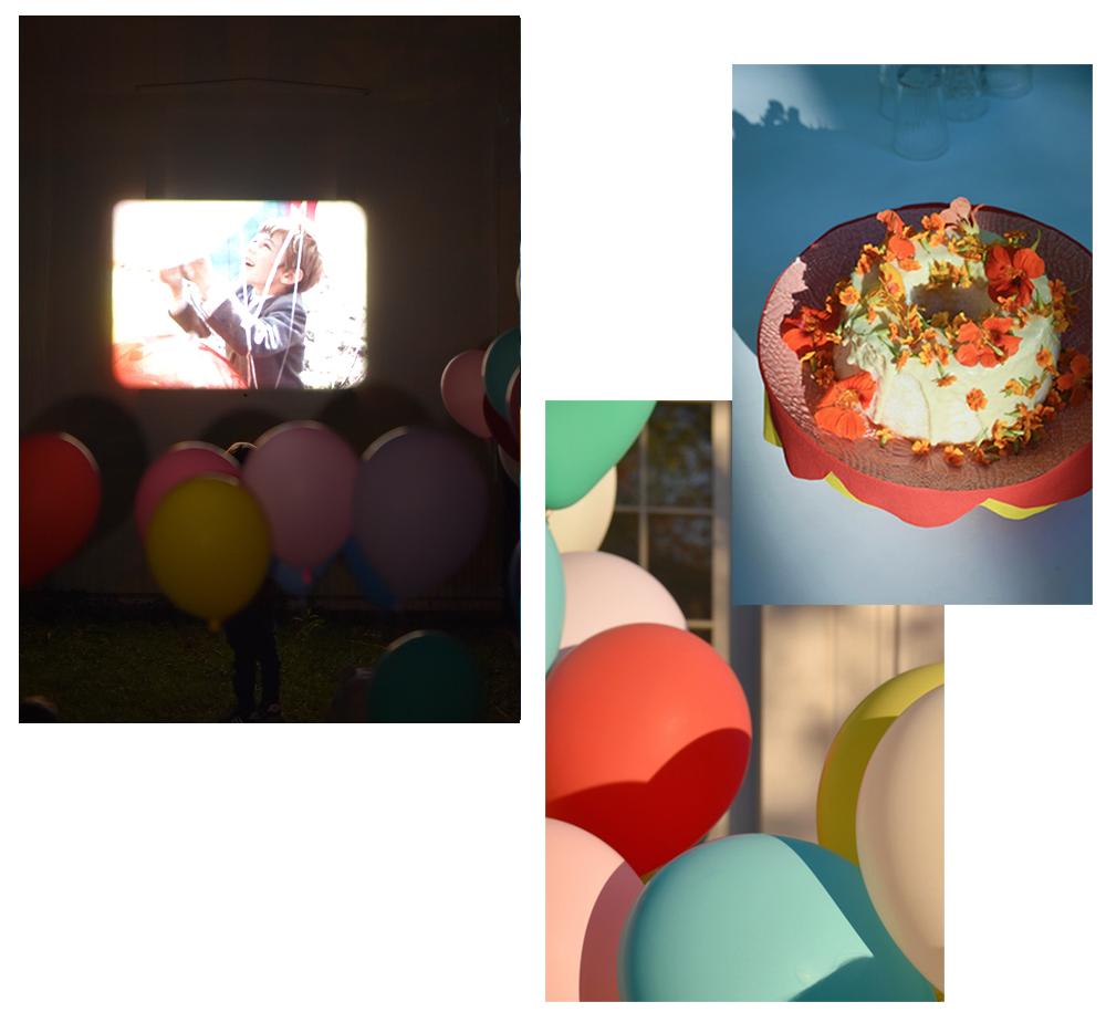Péa les maisons. Une fête d'anniversaire dans la cour remplie de couleurs et de jolis gâteaux pour une petite fille de cinq ans