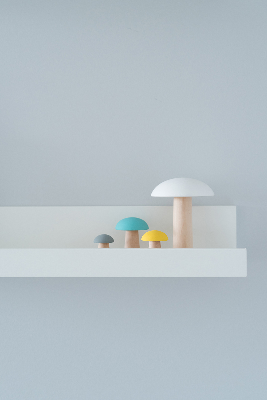 Péa les maisons. Des champignons comme petits accessoires décoratifs pour chambre de bébé