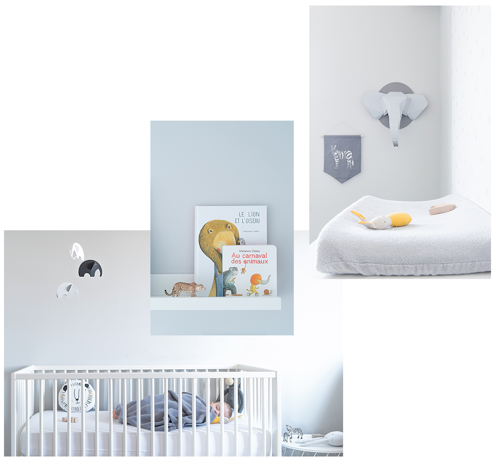 Péa les maisons. Gender neutral and monochrome baby room with a minimalist vibe and an animal theme