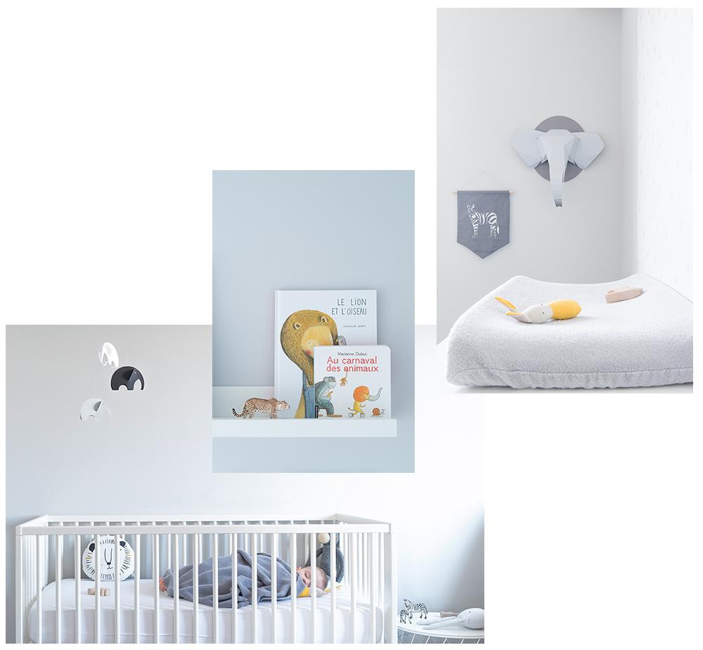 Péa les maisons. Chambre de bébé neutre, minimaliste et monochrome avec thématique animaux