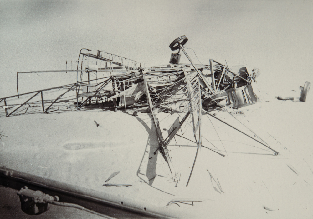 Wreckage of Bill Lancaster's Avro Avian 'Southern Cross Minor' after discovery by a patrol of the Groupe Saharien Mixte du Tout, a unit of the French Foreign Legion in Algeria.jpg