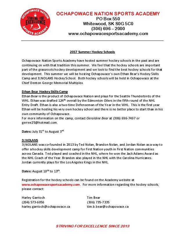 Ochapowace Sports Academy