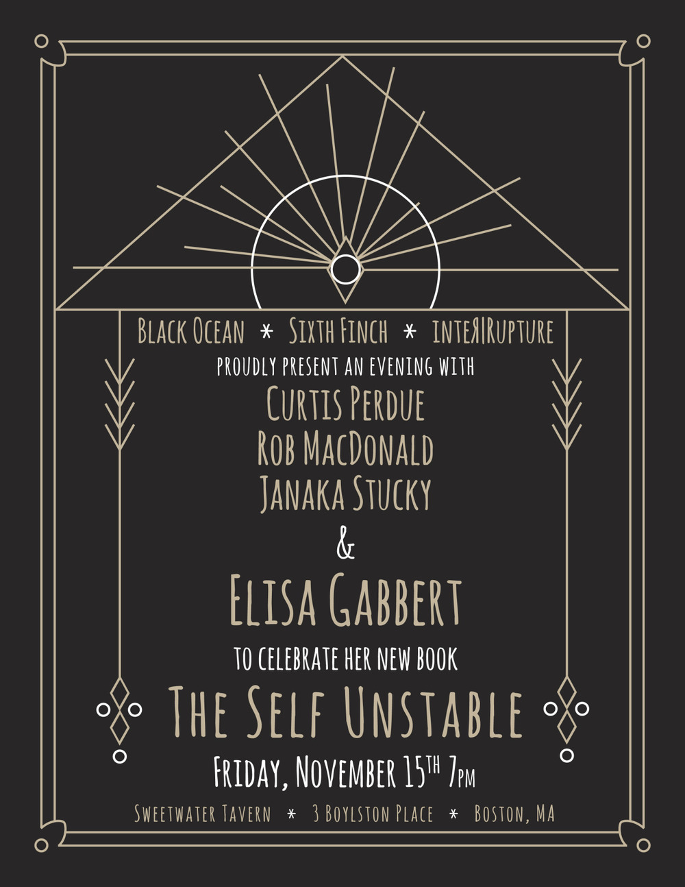 I'll be reading with fellow local indie-literati Curtis Perdue ( inter|rupture ) and Rob MacDonald ( Sixth Finch ) in support of Elisa Gabbert's new book of lyric essays,  The Self Unstable , out from Black Ocean this month!