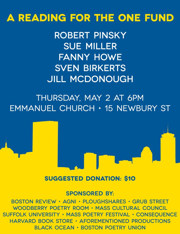 Black Ocean is co-sponsoring this reading which benefits the One Fund–helping those most affected by the Boston Marathon bombings. If you're in the area I hope you'll join us, and give generously to help us meet our $5,000 goal.