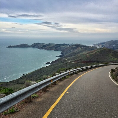 Driving through the Marin Headlands