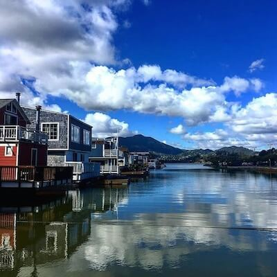 Tranquil houseboats in Sausalito