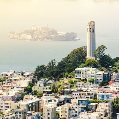 Coit Tower with Alcatraz in the background