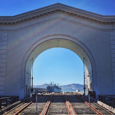 The Jeremiah O'Brien framed by the Pier 43 arch at Fisherman's Wharf